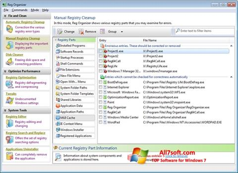 Screenshot Reg Organizer Windows 7