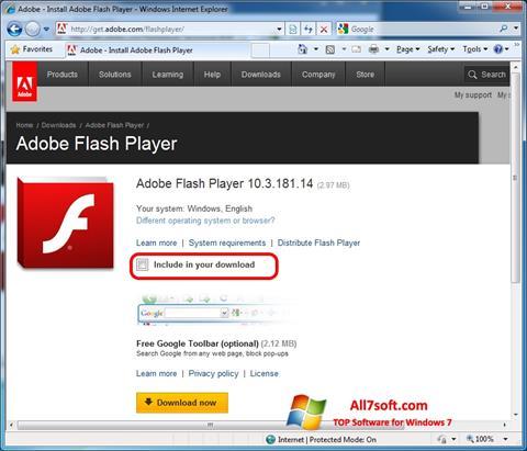 Screenshot Adobe Flash Player Windows 7